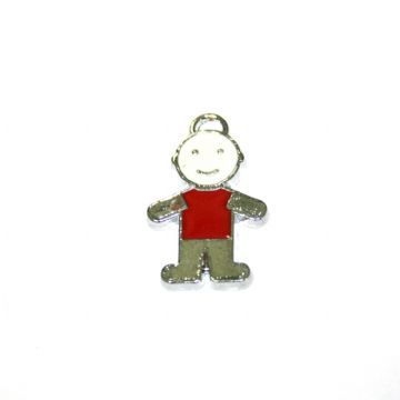 1pce x 21*15mm little boy in red T-shirt enamel charms - S.D03 - CHE1241